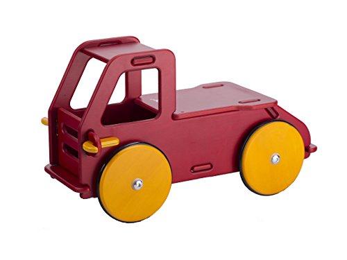 MOOVER MOOV-888028 Baby Truck - Holz Lastwagen - Rutscherauto - Motorik Lernspaß Schnellbausystem, Rot