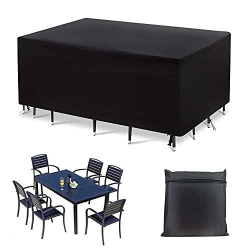 Abdeckung für Gartenmöbel Schutzhülle für Gartentisch Sitzgruppe 315x160x74cm Oxford wasserdichte Atmungsaktive Abdeckplane Abdeckhaube für Tisch und Stühle