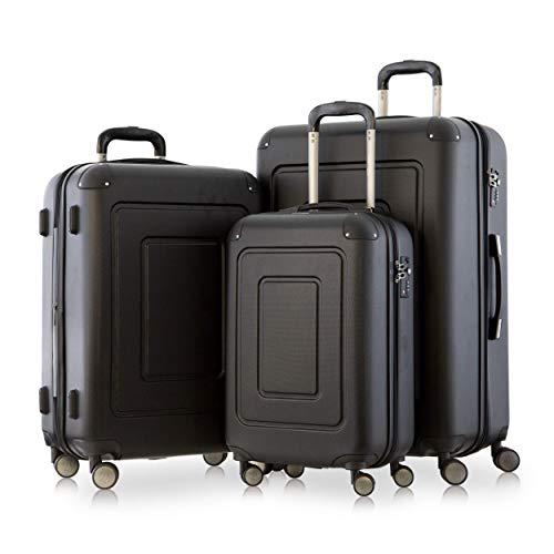 Happy Trolley - 3er Koffer-Set Trolley-Set Rollkoffer Hartschalen-Koffer Reisekoffer Lugano sehr leicht, TSA, (S, M & XL), Schwarz