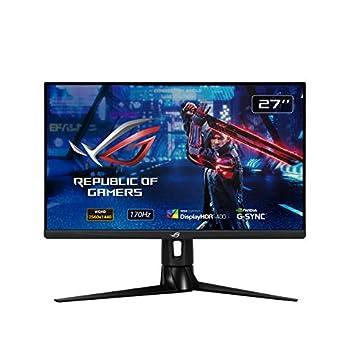 "ASUS ROG Strix XG27AQ 27"" HDR Gaming Monitor 1440P WQHD  2560 x 1440  Fast IPS 170Hz 1ms G-SYNC Compatible Extreme Low Motion Blur Sync Eye Care HDMI DisplayPort USB 3.0 Hub DisplayHDR 400"