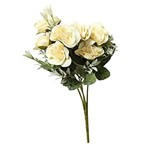Runxien 8 Heads Artificial Peony Silk Flower with Vase Bridal Perfect for Spring Summer Decor Hydrangea Home Bathroom,Living Room,Table,Household Wedding Decor Gift for Mother,Friends,Girl