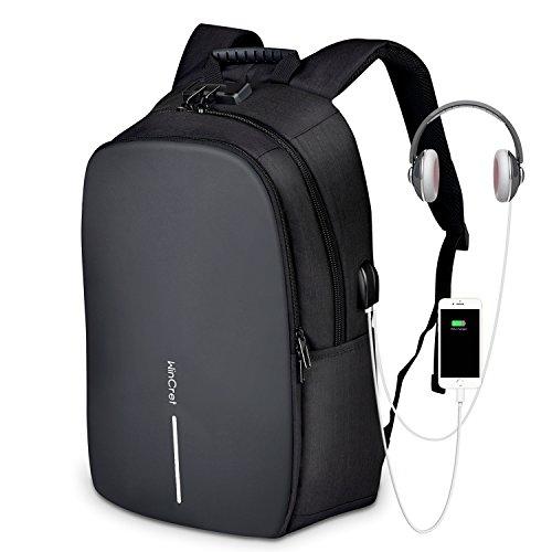 WinCret Acolchada Mochila Portatil y Chubasquero - Anti-Robo Mochila para portátil 17,3 Pulgadas con Puerto de Carga USB y Toma de Auriculares - Impermeable Ordenador Backpack Negocio Trabajo Viaje