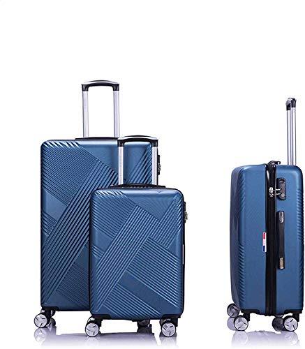 Trolley 4 con ruedas forradas 55-65-75 cm Caja de equipaje de ruedas ultraligero,Blue