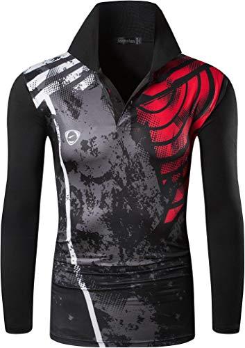 jeansian Herren Outdoor Sport T-Shirt Long Sleeve Polo Shirt Running Tee Tops LA287 Black M