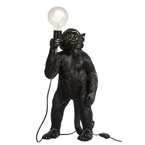 Lámpara de mesa mono, resina negra.