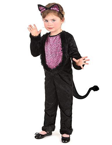 KULTFAKTOR GmbH Süßes Katzen-Kostüm für Mädchen 92/104 (3-4 Jahre)