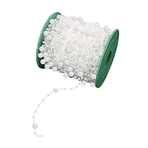Anyasen 60m Perlenband Perlengirlande Weiß Perlengirlande Party Girlande Perlenkette Perlenschnur Perlengirlande Hochzeit Tischdeko Perlenband für Hochzeits DIY-Handwerk