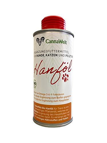 CannaWelt Olio di canapa biologico per animali – una sana aggiunta al cibo – DE-ÖKO-039 (250 ml)