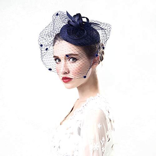 Toirxarn Pince à Cheveux Fascinator Chapeau à Pilules Bowler Fleur Veil Chapeau De Noce Chapeau De Thé Chapeau Bleu Marine