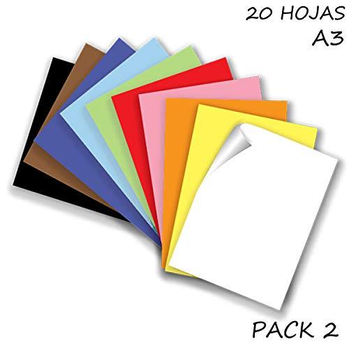 Starplast, Pack 2 Blocs de Papel, Cartulinas, 20 Hojas A3, 180gr/m² para Manualidades, Dibujo, Diseños, etc. 10 Colores Claros