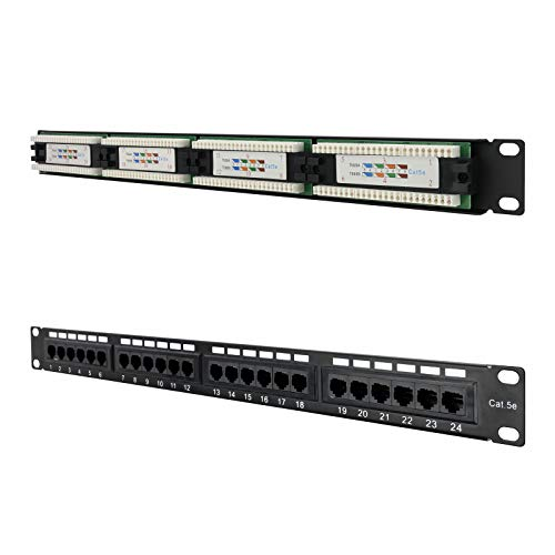 NanoCable 10.21.2124 - Panel de parcheo de 24 puertos RJ45 Cat.5E UTP, para rack de 19
