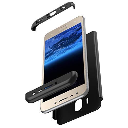 Herbests Kompatibel mit Samsung Galaxy J2 Pro 2018 Hülle 360° Rundumschutz Handyhülle Schutzhülle Komplettschutz Tasche Full Cover Front Back Double Beidseitiger Cover PC Hartschale,Schwarz