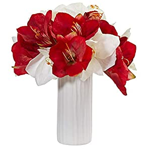 Nearly Natural 1860-AS Amaryllis Artificial White Vase Silk Arrangements Assorted