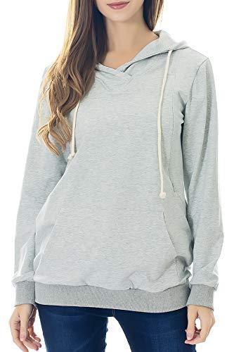 Smallshow Schwangere Pflege Damen Langarm Stillen Shirt Sweatshirt Kapuzenpullover Stillzeit Light Grey M