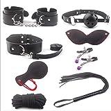LGHplug 7-Pieces Leather Boňdàgé Kit Hands-Cuff Blindfold Adjustable Neck Strap for Couple Midnight Passion Time T-Shirt Bodies Pendant Jewelry Accessory Sunglasses (Color : Black)