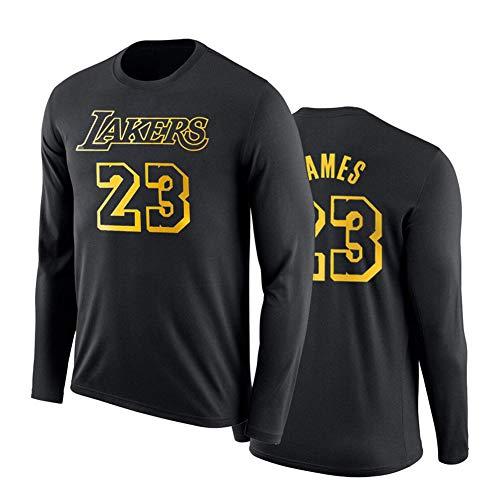 YUNAN - Camiseta de baloncesto de manga larga para hombre, diseño de Los Angeles Lakers #23 LeBron James, camiseta suelta para ejercicio y ropa informal, color negro 2-XXL