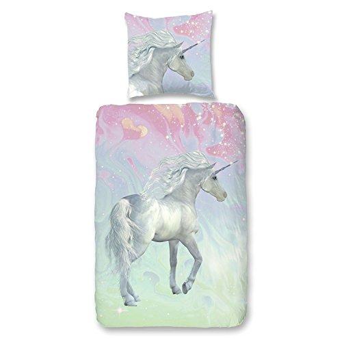 Good Morning Parure de lit pour enfant Motif licorne Multicolore 135 x 200 cm (80 x 80 cm)