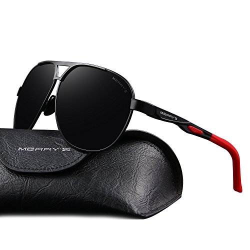 MERRY'S Men Classic Brand HD polarized Sunglasses Aluminum Driving Sun glasses S8611 (Black, 62)