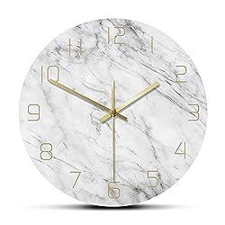 N /A Wall Clock 12 Inch Glass Quartz Analog Quiet Marble Wall Clock 3D Chic White Marble Print Modern Round Wall Watch Nordic Creative Home Decor Fashion
