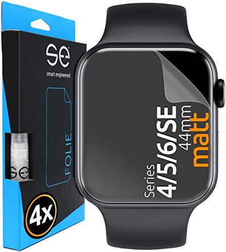 [4 Stück] Entspiegelte 3D Schutzfolien kompatibel mit Apple Watch 44mm (Series 4 / 5 / 6 / SE ),matte Bildschirmschutz-Folie, Schutz vor Dreck & Kratzern, kein Schutzglas - smart engineered