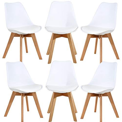 WAFTING 6er Set Esszimmerstühle Gepolsterter Seitenstuhl mit Buchenholz-Beinen und Weich Gepolsterte Chair für Esszimmer Wohnzimmer Schlafzimmer Küche, 6er Set(gepolstert weiß)