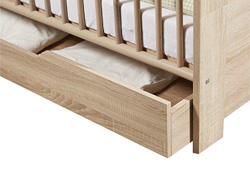 trendteam Babyzimmer Auszug für Babybett Kinderbett auf Rollen Carlotta, 139 x 16 x 70 cm in Eiche Sägerau Hell Dekor mit Schubkasten