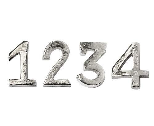 EDZARD 4er Set Kerzenpin Kerzenstecker Advent für Stumpenkerzen, Zahlen 1-4, Höhe 4 cm, robust, Aluminium vernickelt, Kerzendekoration, Kerzenverzierung, Adventskranz