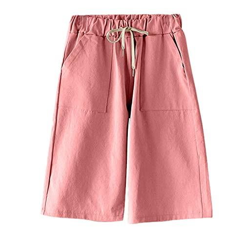 N\P Pantalones cortos de verano de algodón de pierna ancha para mujer, tallas grandes