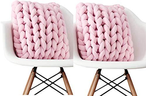 Wythe Knot - Almohada para sofá con nudos, funda de cojín de palé, tejido nórdico, simplicidad hecha a mano (rosa, 2...