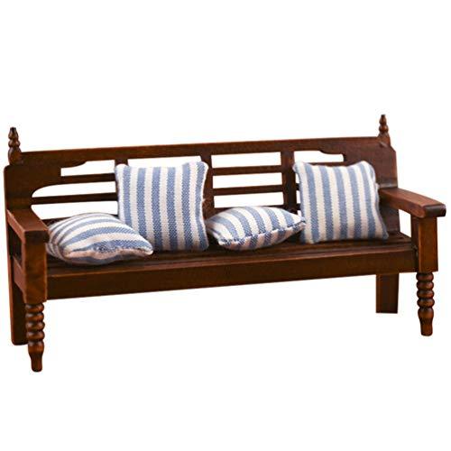 Kisangel 1 Juego de Mini Sofá de Madera Casa de Muñecas Muebles de Madera Miniatura Sofá Silla Modelo con Almohada