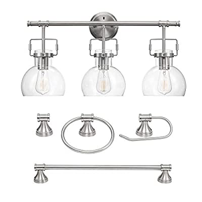 Globe Electric 51299 Walker 5-Piece All-In-One Bathroom Set, Brushed Nickel, 3-Light Vanity Light with Clear Glass Shades, Towel Bar, Towel Ring, Robe Hook, Toilet Paper Holder