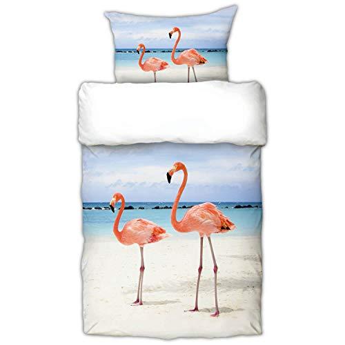 Schwanberg Bettwäsche Flamingo Rosa Vögel Strand Beach Schnabel Renforcé, Größe:135 cm x 200 cm