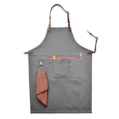 big-sized grembiule da lavoro elegante durevole denim caffè/chef/grembiule da lavoro, tasche e portapenne, vita regolabile Fascette da collo in pelle & Tool grembiuli per donne uomini hsw053-b