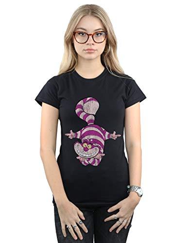 Disney Women's Alice in Wonderland Cheshire Cat Upside Down T-Shirt Black XX-Large