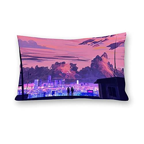 Natt stad lampor kuddfodral kuddöverdrag kroppskuddöverdrag för bäddsoffa hem rum bildekor 50 x 76 cm