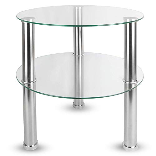 Maison & White Small Round Glass 2 Tier Table | Sofa Bed Side Storage Shelf Coffee Table | Stainless Steel Legs with Tempered Glass Surfaces | M&W (Clear)