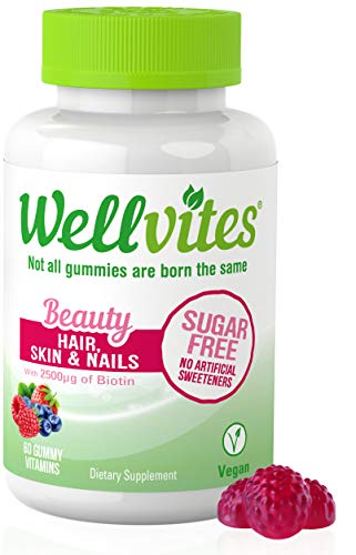 Wellvites Beauty Sugar Free Adult Gummies for Hair, Skin and Nails with Biotin, Vitamin B12, and Folate | Vegan, Non-GMO and Gluten Free – 60 Count