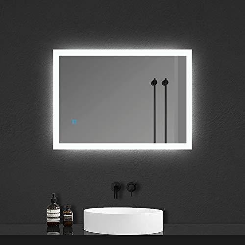 Espejo de Baño con Lámpara LED Espejo Moderno de Baño con Interruptor Táctil,Antiniebla,Luz Blanca Fría 6000k,Fácil Instalación