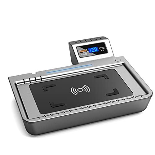 15W Cargador inalámbrico para automóvil, cargador de automóviles Montaje compatible con C-RV Ford Toyota Accord, protección de sobrecarga Chip Smart Chip Cargador de carga con cable LED de cargador in