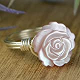 Carved Pink Mother of Pearl Rose Flower Sterling Silver, Yellow or Rose Gold Filled Wire Wrapped Ring- Custom made to size 4-14