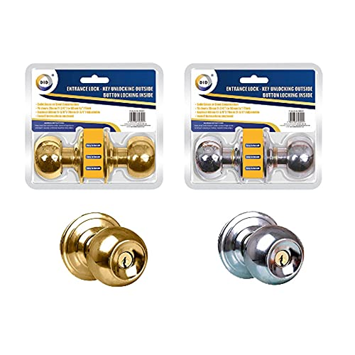 Cerradura de entrada – Juego de cerradura de puerta redonda de acero inoxidable dorado con 3 llaves, apto para dormitorio, cuarto de baño, puertas de trastero