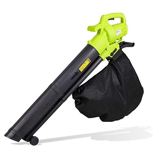 3 in 1 Leaf Blower, 3000W Garden Leaf Blower and Vacuum & Shredder with Wheels, Large 35L Capacity Collection Bag and Carry Strap, 10:1 Shredding Ratio, 10m Cable