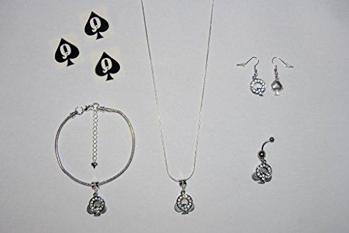 Queen of Spades Euro Halskette Fußkettchen Kette Knöchel Armband Ohrringe Naval Bauchnabelpiercing Tattoos Komplette hotwife Schmuck Set Style 4–Sexy Jewels