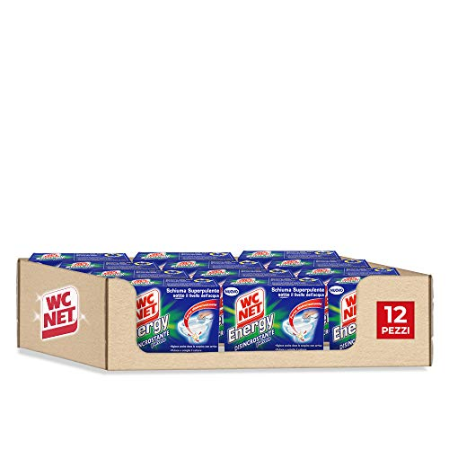 Wc Net Energy Disincrostante, Detergente Anticalcare in Polvere per WC, Schiuma Autopulente, 4 Buste x 12 Confezioni