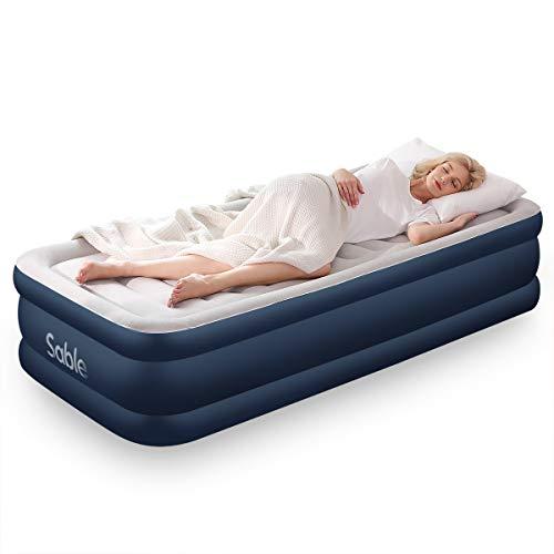 エアーベッド Sable シングルサイズ 空気ベッド 203x幅99x厚さ46cm 極厚 折畳み エアーマット 通気性抜群 耐荷重300kg 家庭用 来客 防災用 快適な寝心地 簡単に収納 日本語説明書付き