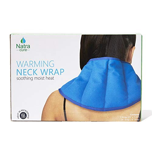 NatraCure Warming Neck Wrap (w/Silica Beads) – Microwaveable Moist Hot Pack and Heated Pain Relief Pad for Neck, Shoulders, and Back