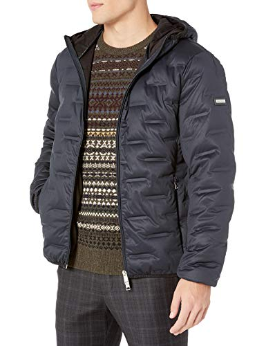 Armani Exchange A X Herren Zip Up Down Jacket with Hood Jacke, Navy, Groß