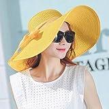 YXY - Sombreros de verano para mujer, diseño de lazo amarillo Amarillo