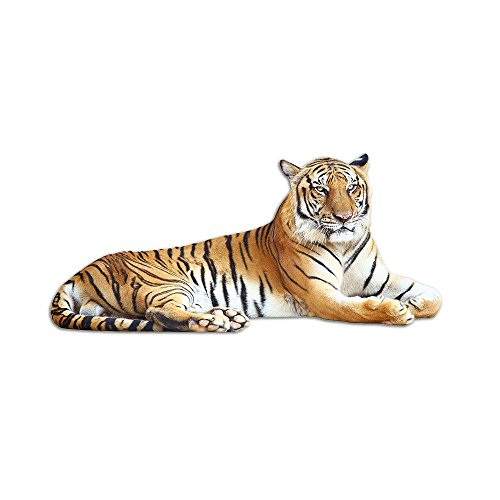 GrazDesign Wandsticker Deco Sticker Tiger liggend, Wandtattoo Wildkat jungle 109x50cm