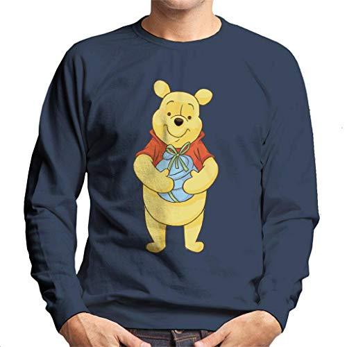 Disney Christmas Winnie The Pooh Holding Honey Pot - Sudadera para hombre Azul azul marino L